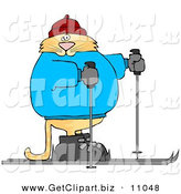 Clip Art of a Human-like Cat Cross-country Skiing on Snow by Djart