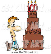 Clip Art of a Hungry Caucasian Guy Drooling over a 100 Birthday Cake by Toonaday