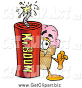 Clip Art of a Ice Cream Cone Character Standing with a Stick of Dynamite by Toons4Biz