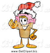 Clip Art of a Ice Cream Cone Character Wearing a Santa Hat and Waving by Toons4Biz