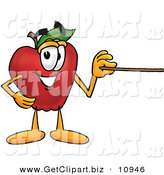 Clip Art of a Improvement to Clipart HelperRed Apple Character Mascot Using a Pointer Stick by Toons4Biz