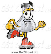 Clip Art of a Laboratory Flask Beaker Roller Blading by Toons4Biz