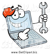 Clip Art of a Laptop Character Holding a Wrench by Hit Toon