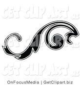 Clip Art of a Leafy Black Silhouetted Scroll Design Outlined in White Flowing Left by OnFocusMedia