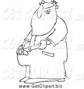 Clip Art of a Lineart Fit Santa Holding out His Big Pants After Losing Weight by Djart