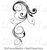 Clip Art of a Long, Black Swirling Design Element Scroll by OnFocusMedia