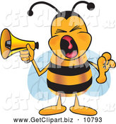 Clip Art of a Loud Bee Mascot Cartoon Character Screaming into a Megaphone by Toons4Biz