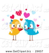 Clip Art of a Love Bird Giving His Mate a Flower by BNP Design Studio