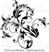 Clip Art of a Lush Black Flourish with Curly Tendrils Growing up and Left by OnFocusMedia