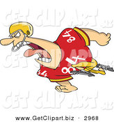 Clip Art of a Mad and Running Football Player Man in Uniform by Toonaday