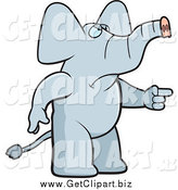 Clip Art of a Mad Elephant Pointing to the Right by Cory Thoman