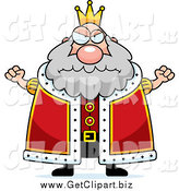 Clip Art of a Mad Plump King Holding up Fists by Cory Thoman