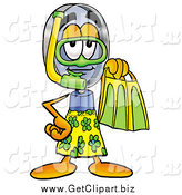 Clip Art of a Magnifying Glass Character in Green and Yellow Snorkel Gear by Toons4Biz