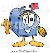 Clip Art of a Mailbox Character Looking Through a Magnifying Glass by Toons4Biz