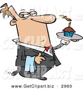 Clip Art of a Male Caucasian Butler Carrying a Cupcake with a Lit Candle on a Tray and Facing Right by Toonaday
