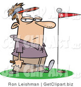Clip Art of a Male Golfer Standing by a Golf Ball on Top of a Red Flag Blocking the Hole by Toonaday