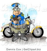 Clip Art of a Male Motorcycle Policeman Filling out a Traffic Citation/Ticket Form by Djart