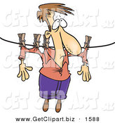 Clip Art of a Man Hanging on a Clothes Line to Dry over White by Toonaday