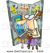 December 19th, 2012: Clip Art of a Man Using a Computer in a Cramped Cubicle While Working by Toonaday