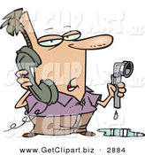 Clip Art of a Man with a Leaky Pipe, Calling a Plumber for Assistance by Toonaday