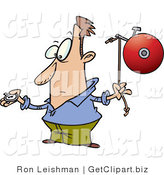 Clip Art of a Man with a Stop Watch, Preparing to Ring a Bell by Toonaday