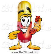Clip Art of a Medicine Pill Mascot Holding a Telephone by Toons4Biz