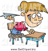 Clip Art of a Mischievous School Boy Throwing Paper Planes in Class by Toonaday