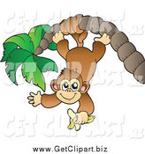 Clip Art of a Monkey Eating a Banana, Hanging from a Palm Tree by Visekart