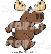 Clip Art of a Moose Running by Cory Thoman