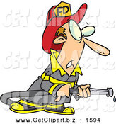 Clip Art of a Nervous Fireman in Uniform, Holding a Hose by Toonaday
