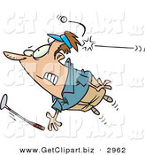 Clip Art of a Nervous Male Golfer Being Hit by a Golf Ball by Toonaday