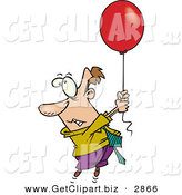 Clip Art of a Nervous White Business Man Getting Carried Away Somewhere by a Red Balloon by Toonaday
