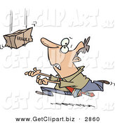 Clip Art of a Nervous White Business Man Rushing to Catch a Falling Fragile Package by Toonaday