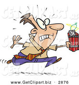 Clip Art of a Nervous White Man Running with Dynamite, Trying to Save the Day by Toonaday