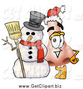 Clip Art of a Nose Character with a Snowman by Toons4Biz