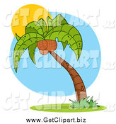 Clip Art of a Palm Tree and Sun by Hit Toon