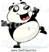 Clip Art of a Panda Doing a Happy Dance by Cory Thoman