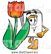 Clip Art of a Paper Mascot with a Red Spring Tulip Flower by Toons4Biz