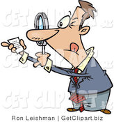 Clip Art of a Paranoid Man Using a Magnifying Glass to Read Fine Print on a Document by Toonaday