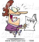 Clip Art of a Paranoid Woman Reading the Newspaper by Toonaday