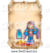 Clip Art of a Parchment Page with a Belly Dancer by Visekart