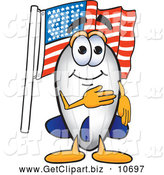 October 21st, 2013: Clip Art of a Patriotic Blimp Mascot Cartoon Character Pledging Allegiance to the American Flag by Toons4Biz