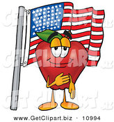 Clip Art of a Patriotic Red Delicious Apple Character Mascot Giving the Pledge of Allegiance in Front of an American Flag by Toons4Biz