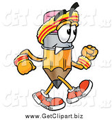 Clip Art of a Pencil Speed Walking or Jogging by Toons4Biz