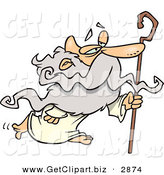 Clip Art of a Personification of a Gray Haired Senior Man, Father Time, in a Robe, Walking with a Cane by Toonaday