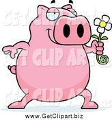 Clip Art of a Pig Giving a Daisy Flower by Cory Thoman