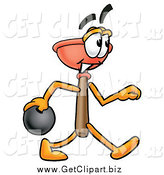 November 22nd, 2014: Clip Art of a Plunger Character Bowling by Toons4Biz