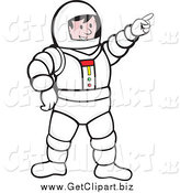 Clip Art of a Pointing White Male Astronaut by Patrimonio