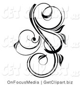 Clip Art of a Pretty Black and White Scrolling Design Accent by OnFocusMedia