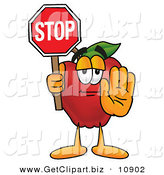Clip Art of a Red Apple Character Mascot Holding a Red Stop Sign, Halting the Viewer by Toons4Biz